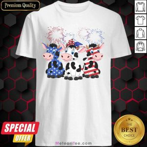 Cows Blue White Red American Flag Shirt - Design By Meteoritee.com