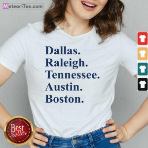Dallas Raleigh Tennessee Austin Boston V-neck- Design By Meteoritee.com