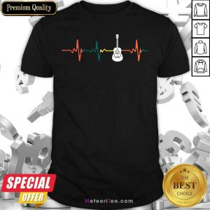 Vintage Guitar Heartbeat Shirt - Design By Meteoritee.com