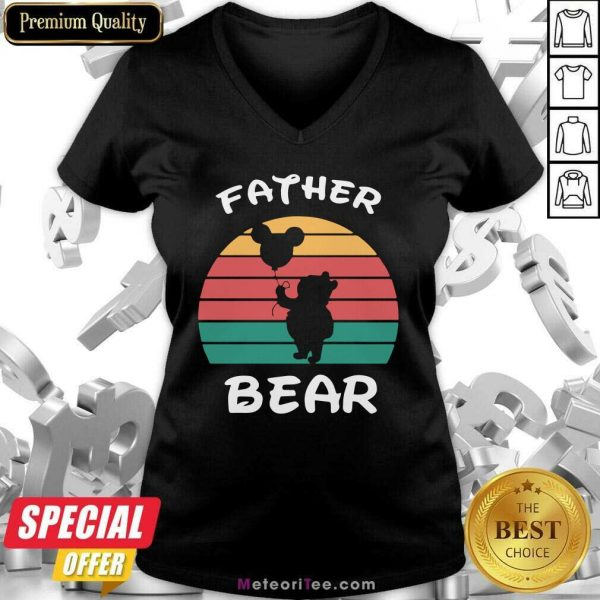 Father Bear Disney Vintage Retro V-neck - Design By Meteoritee.com
