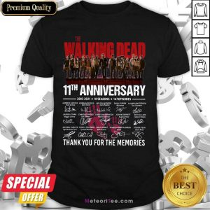 The Walking Dead 11th Anniversary Thank You For The Memories Signatures Shirt - Design By Meteoritee.com