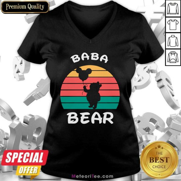 Baba Bear Disney Vintage Retro V-neck - Design By Meteoritee.com