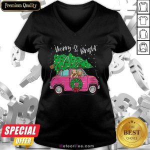Merry And Bright Pitbull Dog Christmas V-neck- Design By Meteoritee.com