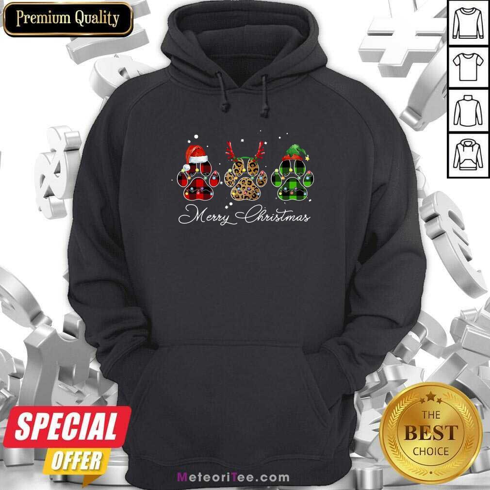 Paw Dog Santa Reindeer ELF Merry Christmas Light Hoodie - Design By Meteoritee.com