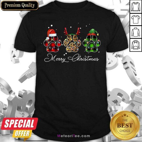 Paw Dog Santa Reindeer ELF Merry Christmas Light Shirt - Design By Meteoritee.com
