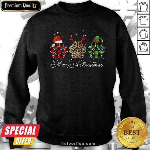 Paw Dog Santa Reindeer ELF Merry Christmas Light Sweatshirt - Design By Meteoritee.com