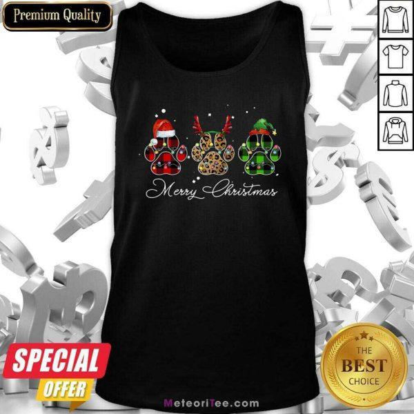 Paw Dog Santa Reindeer ELF Merry Christmas Light Tank Top - Design By Meteoritee.com