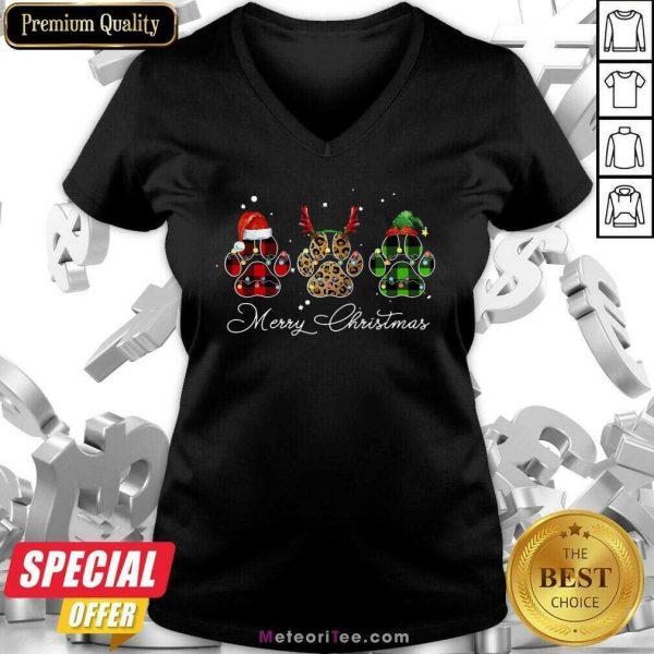 Paw Dog Santa Reindeer ELF Merry Christmas Light V-neck- Design By Meteoritee.com