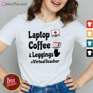 Virtual Teacher Laptop Coffee And Leggings V-neck - Design By Meteoritee.com