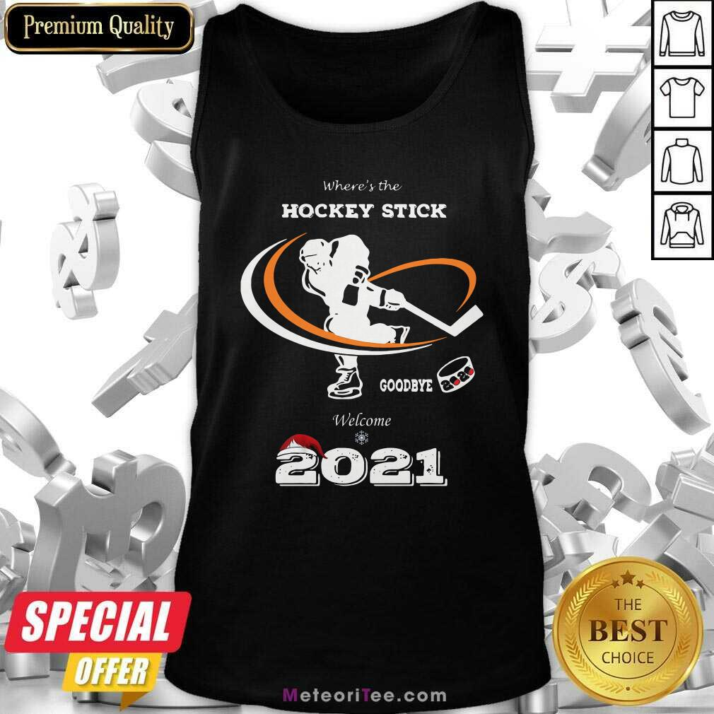 Where's The Hockey Stick Goodbye Welcome 2021 Christmas Tank Top - Design By Meteoritee.com