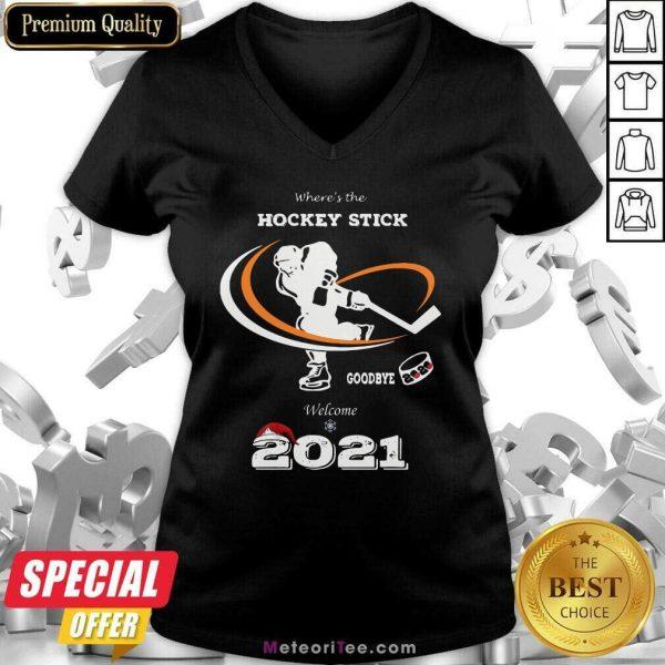 Where's The Hockey Stick Goodbye Welcome 2021 Christmas V-neck - Design By Meteoritee.com