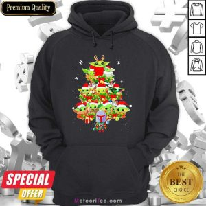 Baby Yoda And The Mandalorian Merry Christmas Tree Gift Hoodie - Design By Meteoritee.com