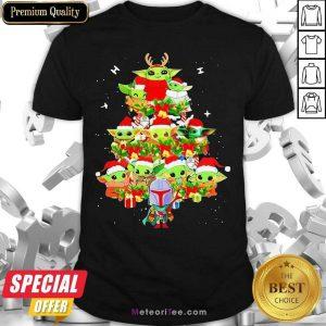 Baby Yoda And The Mandalorian Merry Christmas Tree Gift Shirt- Design By Meteoritee.com