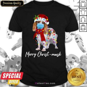 Cavalier King Gorgeous Merry Christ Mask Merry Christmas Light Shirt - Design By Meteoritee.com