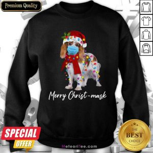 Cavalier King Gorgeous Merry Christ Mask Merry Christmas Light Sweatshirt - Design By Meteoritee.com