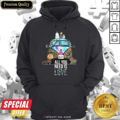 Hippie Bus Snoopy Charlie Brown All You Need Is Love Autism Hoodie - Design By Meteoritee.com