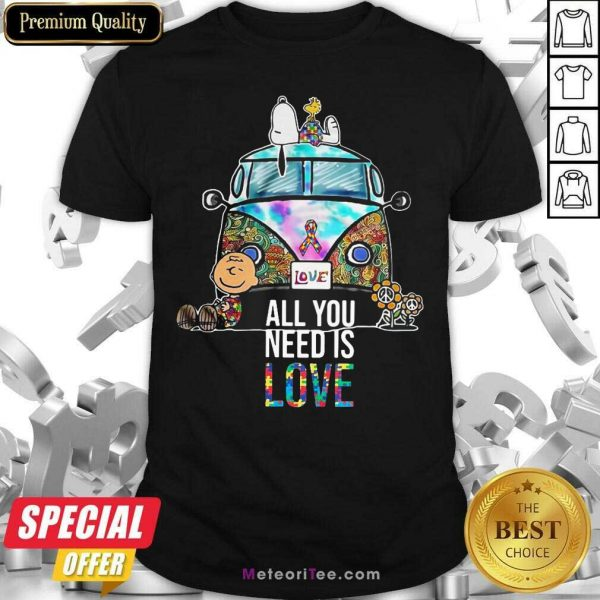 Hippie Bus Snoopy Charlie Brown All You Need Is Love Autism Shirt - Design By Meteoritee.com