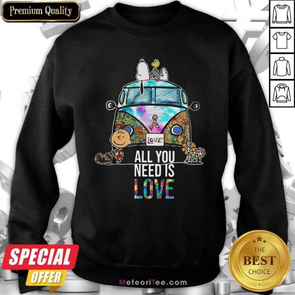 Hippie Bus Snoopy Charlie Brown All You Need Is Love Autism Sweatshirt - Design By Meteoritee.com