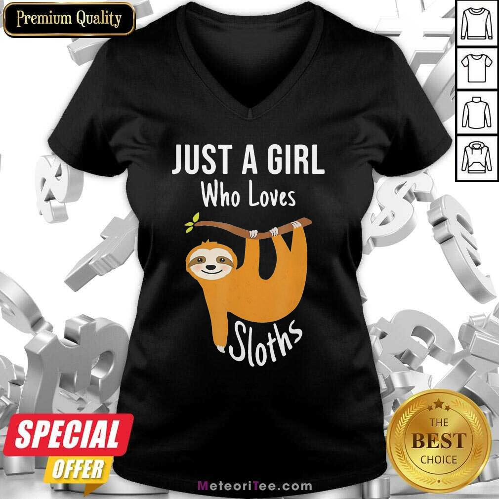 Just A Girl Who Loves Cute Sloths V-neck - Design By Meteoritee.com