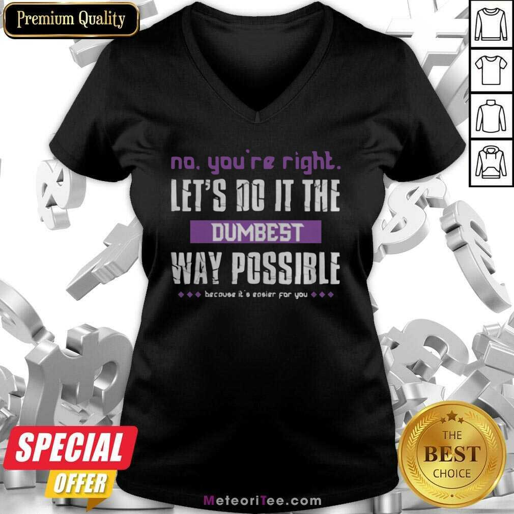 No You're Right Let's Do It The Dumbest Way Possible V-neck - Design By Meteoritee.com