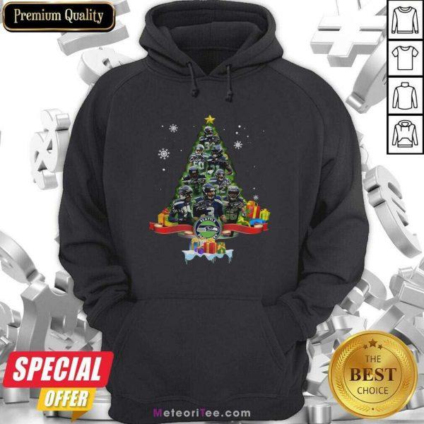 Seattle Seahawks Player Signatures Christmas Tree Hoodie - Design By Meteoritee.com