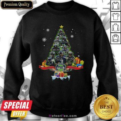 Seattle Seahawks Player Signatures Christmas Tree Sweatshirt- Design By Meteoritee.com