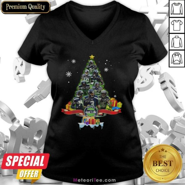 Seattle Seahawks Player Signatures Christmas Tree V-neck - Design By Meteoritee.com
