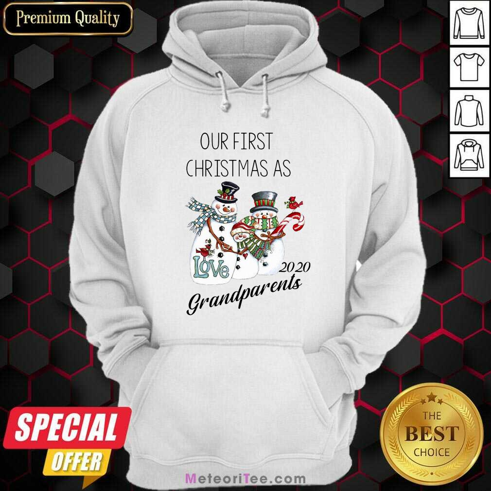 Snowman Our First Christmas Love 2020 Grandparents Hoodie - Design By Meteoritee.com