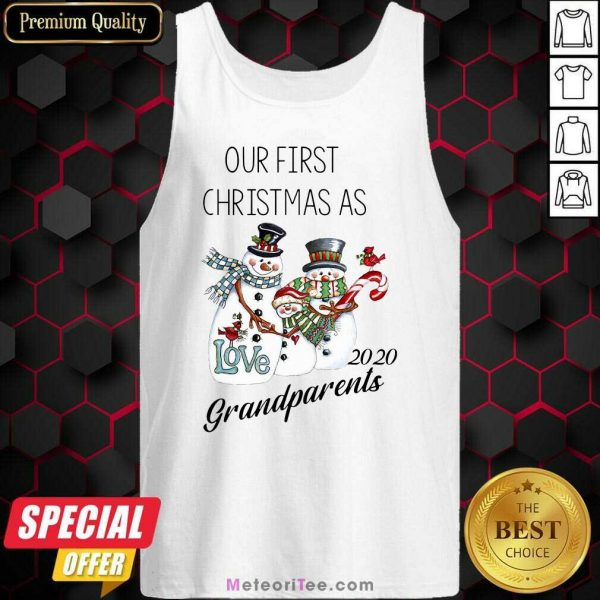 Snowman Our First Christmas Love 2020 Grandparents Tank Top - Design By Meteoritee.com