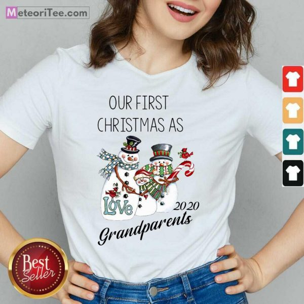 Snowman Our First Christmas Love 2020 Grandparents V-neck - Design By Meteoritee.com