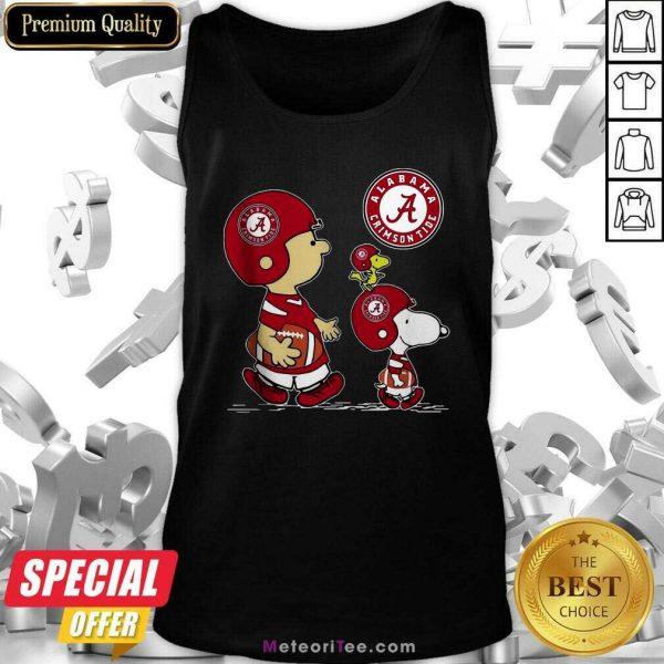 The Peanuts Charlie Brown And Snoopy Woodstock Alabama Crimson Tide Football Tank Top - Design By Meteoritee.com