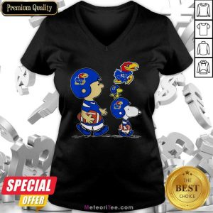 The Peanuts Charlie Brown And Snoopy Woodstock Kansas Jayhawks Football V-neck - Design By Meteoritee.com