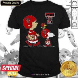The Peanuts Charlie Brown And Snoopy Woodstock Texas Tech Red Raiders Football Shirt - Design By Meteoritee.com