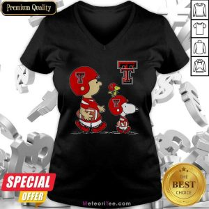The Peanuts Charlie Brown And Snoopy Woodstock Texas Tech Red Raiders Football V-neck - Design By Meteoritee.com