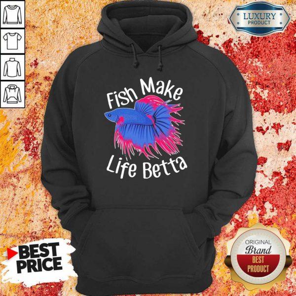 Bewildered Fish Make 4 Life Betta Hoodie - Design by Meteoritee.com