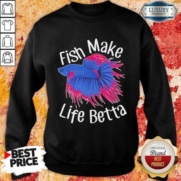 Bewildered Fish Make 4 Life Betta Sweatshirt - Design by Meteoritee.com