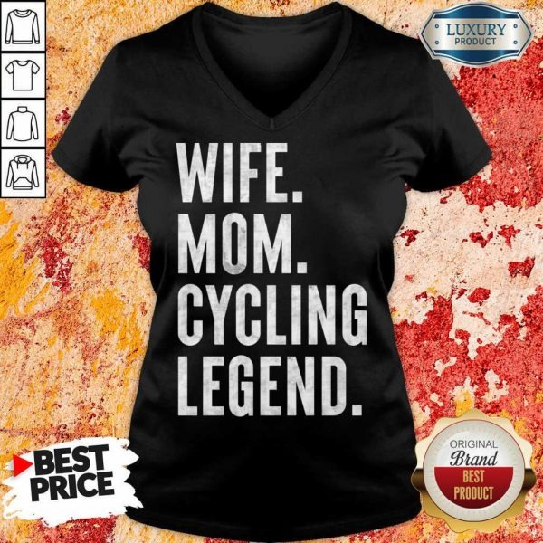 Delighted Wife Mom Cycling 1 Legend V-neck - Design by Meteoritee.com