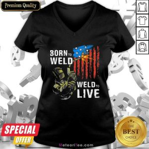 Born To Weld Weld To Live American US Flag V-neck - Design By Meteoritee.com