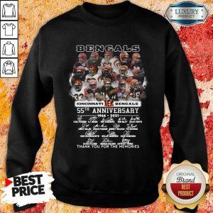 Tense Cincinnati Bengals 55th Anniversary Signatures 11 Sweatshirt - Design by Meteoritee.com