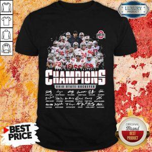 Terrified Ohio State 2020 Champions Player 4 Signatures Shirt - Design by Meteoritee.com