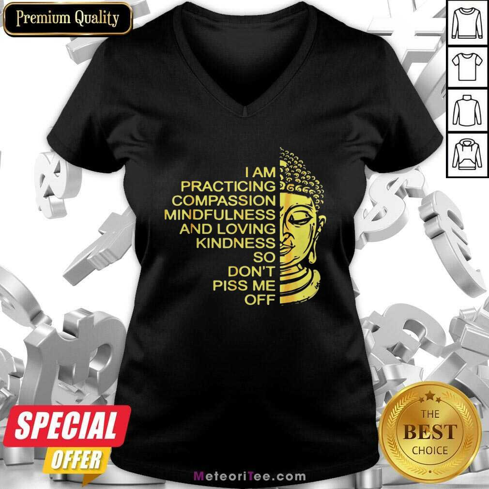 Buda I Am Practicing Compassion Mindfulness And Loving Kindness So Don't Piss Me Off V-neck - Design By Meteoritee.com