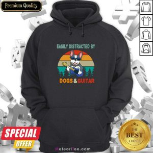 Easily Distracted By Dogs And Guitar Vintage Retro Hoodie - Design By Meteoritee.com