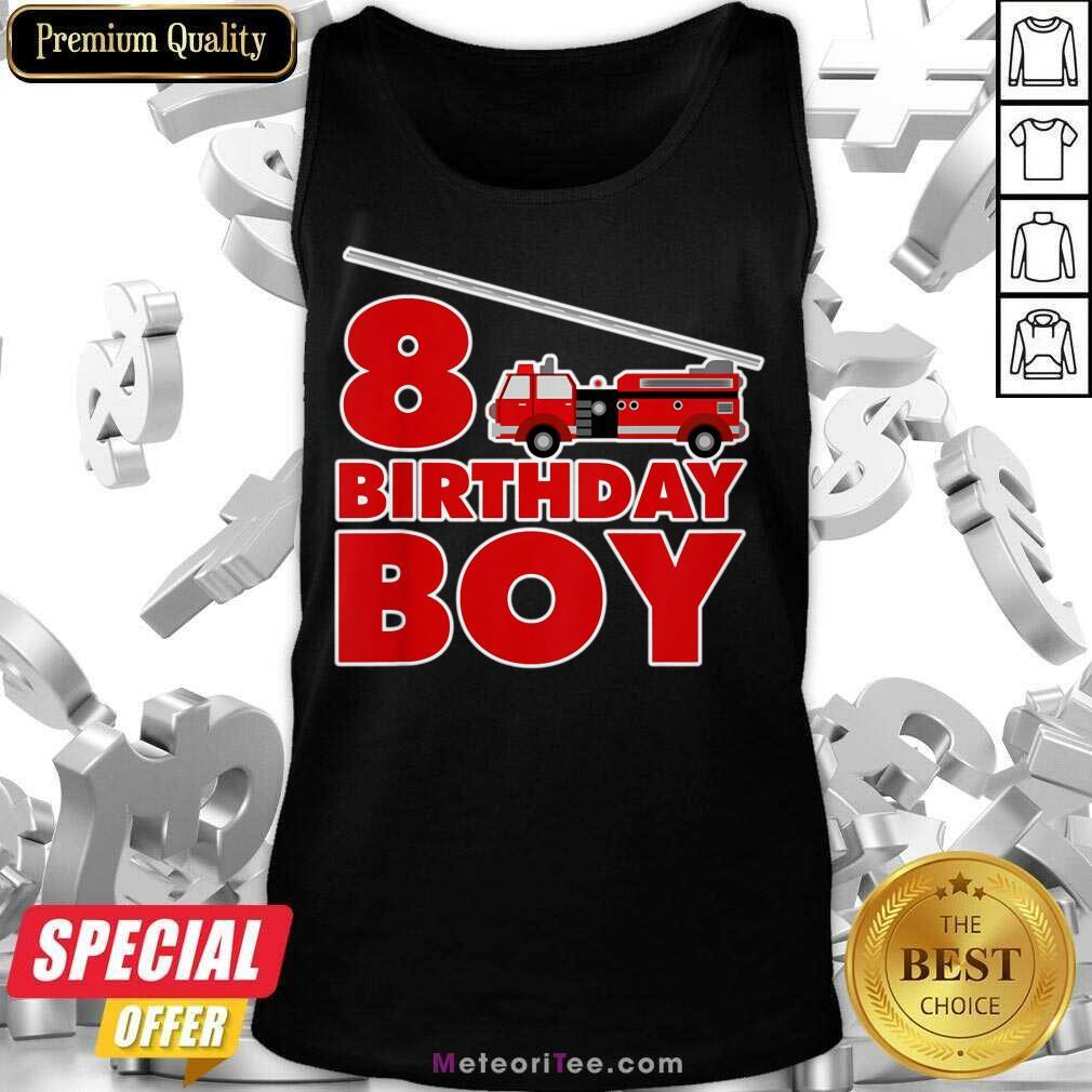 8th Birthday Boy 1 Fire Truck Tank Top - Design By Meteoritee.com