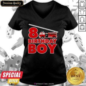 8th Birthday Boy 1 Fire Truck V-neck - Design By Meteoritee.com