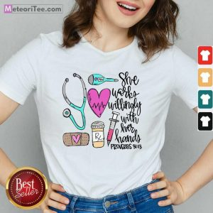 Top She Works Willingly With Her Hands Proverbs V-neck