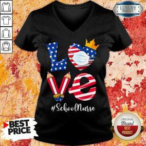 Love American Flag School Nurse V-neck